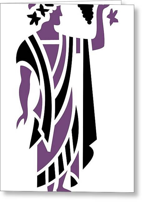 Grape Leaves Greeting Cards - Greek Man in Purple Greeting Card by Donna Mibus