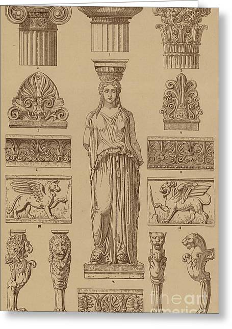 Greek, Ornamental Architecture And Sculpture Greeting Card by German School