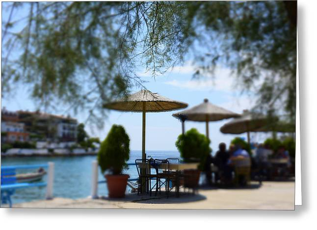 Menu Greeting Cards - Greek restaurants on coast Greeting Card by Newnow Photography By Vera Cepic