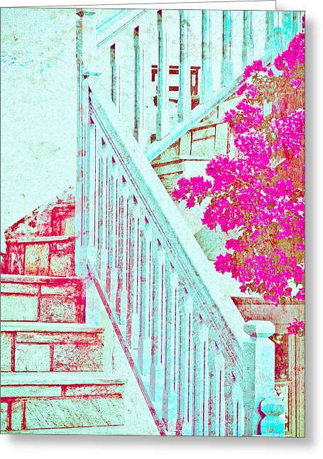 Wooden Stairs Greeting Cards - Greek stairs Greeting Card by Tom Gowanlock