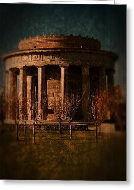 Layered Textures Greeting Cards - Greek Temple Monument War Memorial Greeting Card by Angie Tirado