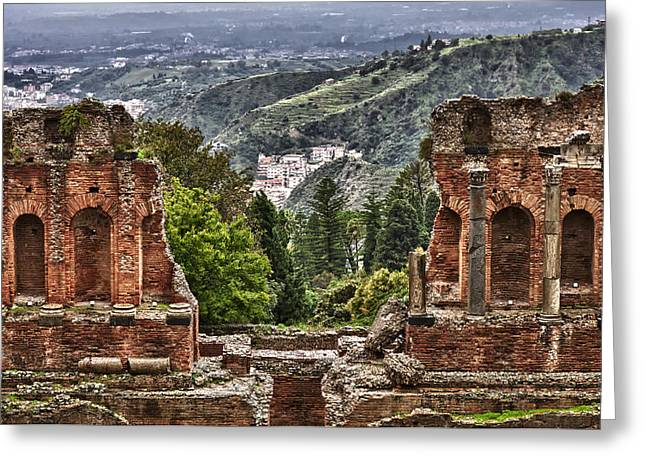 Ancient Ruins Greeting Cards - Greek Theater Greeting Card by Janet Fikar