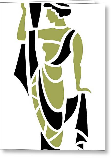 Grape Leaves Greeting Cards - Greek Woman in Olive Greeting Card by Donna Mibus