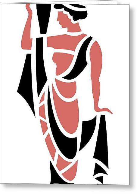 Grape Leaves Greeting Cards - Greek Woman Holding Urn in Pink Greeting Card by Donna Mibus