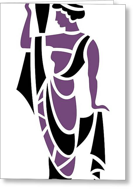 Grape Leaves Greeting Cards - Greek Woman in Purple Greeting Card by Donna Mibus
