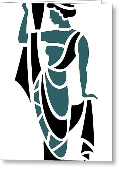 Grape Leaves Greeting Cards - Greek Woman Holding Urn in Teal Greeting Card by Donna Mibus