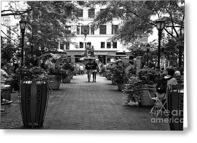 Greeley Greeting Cards - Greeley Square Park mono Greeting Card by John Rizzuto
