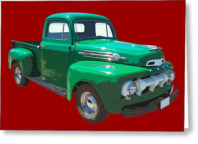 1951 Greeting Cards - Green 1951 Ford F-1 Pick Up Truck Illustration  Greeting Card by Keith Webber Jr