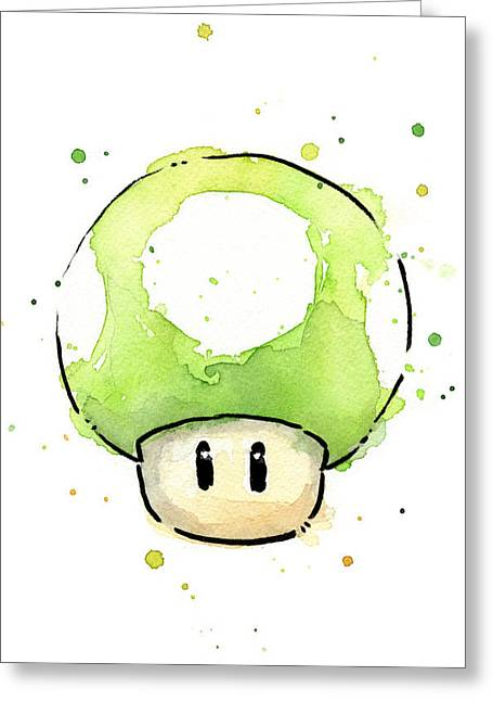 Character Portraits Greeting Cards - Green 1UP Mushroom Greeting Card by Olga Shvartsur