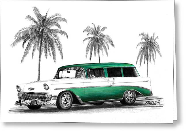 Charcoal Car Greeting Cards - Green 56 Chevy Wagon Greeting Card by Peter Piatt