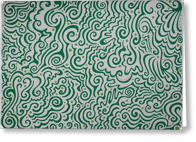 Light And Dark Mixed Media Greeting Cards - Green Abstract Greeting Card by Mandy Shupp