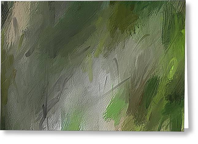 Green Abstract Wall Art Greeting Card by Lourry Legarde