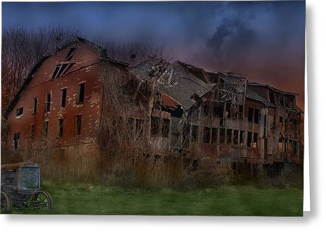 Haunted Barn Greeting Cards - Green Acres Greeting Card by Shelley Neff