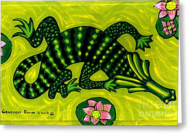Green Alligator Greeting Card by Genevieve Esson