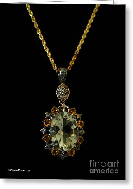 Gold Necklace Greeting Cards - Green Amethyst Necklace Greeting Card by Renee Patterson