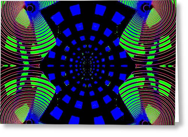 Color Enhanced Greeting Cards - Green And Blue Graphic Design Greeting Card by Caroline Gilmore