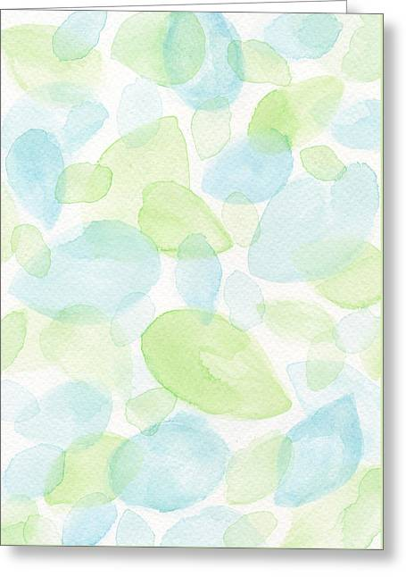 White Paintings Greeting Cards - Green and Blue Leaves Greeting Card by Kathleen Wong
