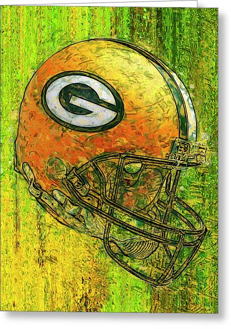 Green And Gold Greeting Card by Jack Zulli