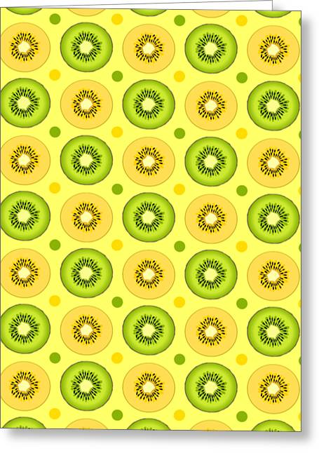 Kiwi Digital Greeting Cards - Green And Golden Kiwi Pattern  Greeting Card by Sharon Norman