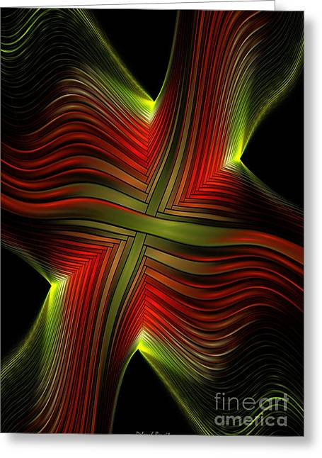 Generative Abstract Greeting Cards - Green and Red Lines Greeting Card by Deborah Benoit