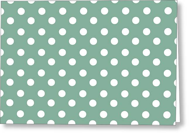 Awesome Tapestries - Textiles Greeting Cards - Green and White Polka Dots Greeting Card by Bimbys Collections