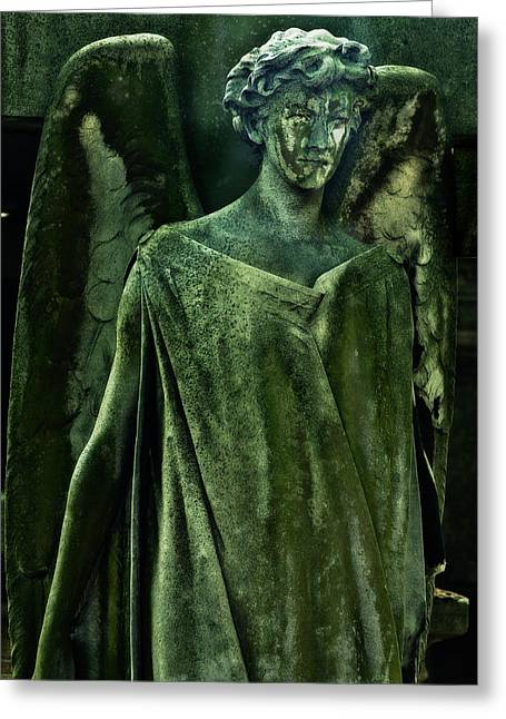 Headstones Greeting Cards - Green Angel Greeting Card by Harry Spitz