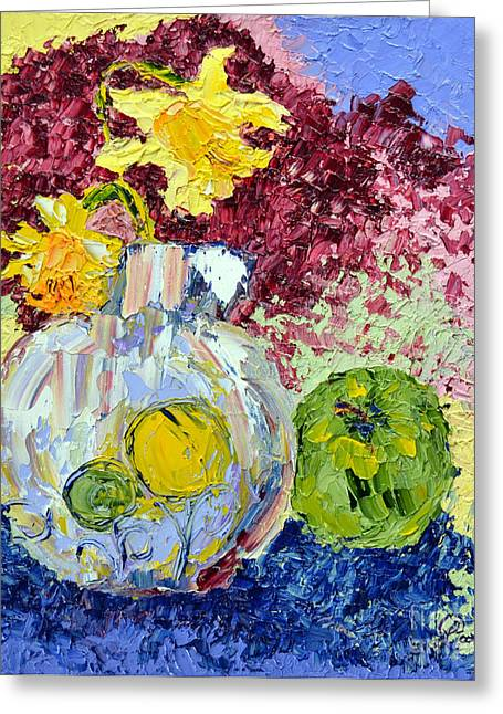 Vase Greeting Cards - Green Apple and Daffodils Greeting Card by Lynda Cookson