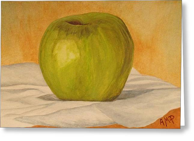 Green Apple Greeting Card by Angeles M Pomata