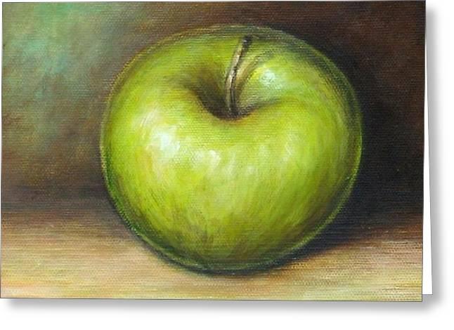 Green Apple Greeting Card by Mirjana Gotovac