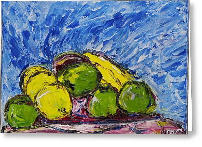 Van Gogh Style Greeting Cards - Green Apples Greeting Card by Dan Castle