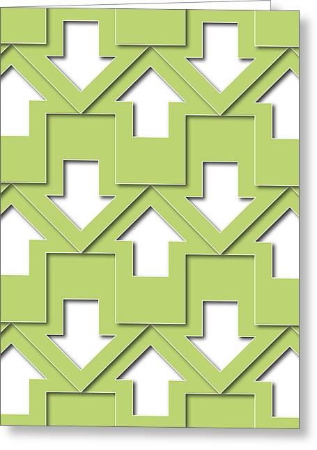 Mosaic Tapestries - Textiles Greeting Cards - Green Arrows Pattern Greeting Card by Jozef Jankola