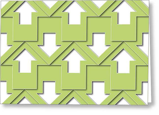 Shade Tapestries - Textiles Greeting Cards - Green Arrows Pattern Greeting Card by Jozef Jankola