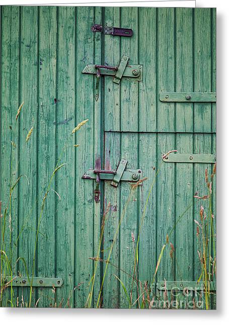 Wooden Building Greeting Cards - Green barn door Greeting Card by Sophie McAulay