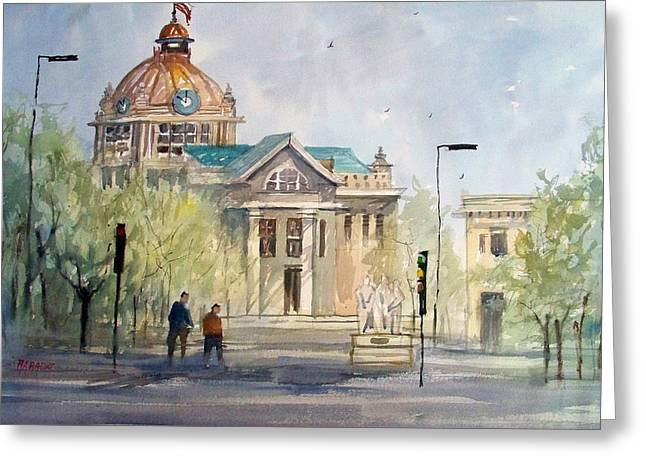 Watercolor Figure Greeting Cards - Green Bay Courthouse Greeting Card by Ryan Radke