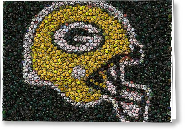 Mosaic Greeting Cards - Green Bay Packers Bottle Cap Mosaic Greeting Card by Paul Van Scott