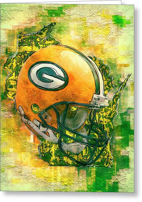 Green Bay Packers Greeting Card by Jack Zulli