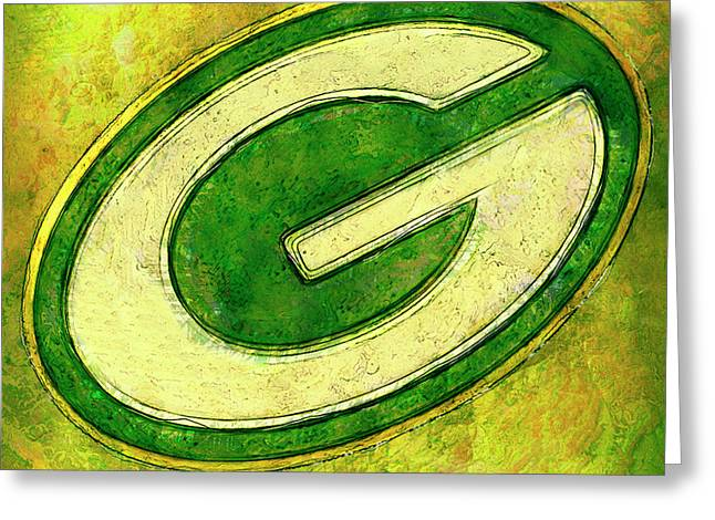 Green Bay Packers Logo Greeting Card by Jack Zulli