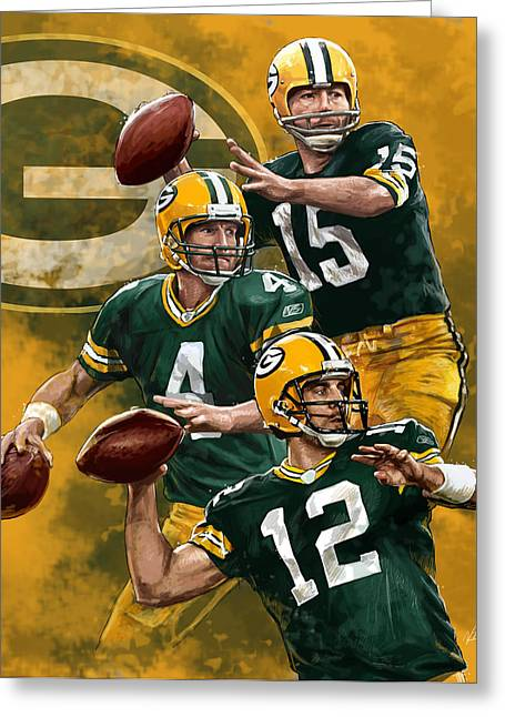 Green Bay Packers Quarterbacks Greeting Card by Nate Baranowski
