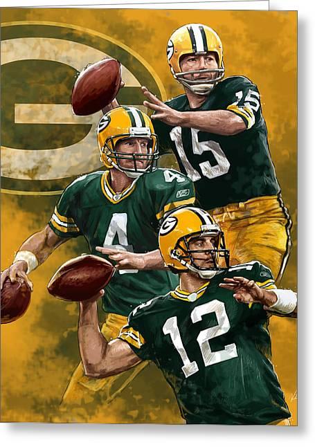 Packer Quarterback Greeting Cards - Green Bay Packers Quarterbacks Greeting Card by Nate Baranowski