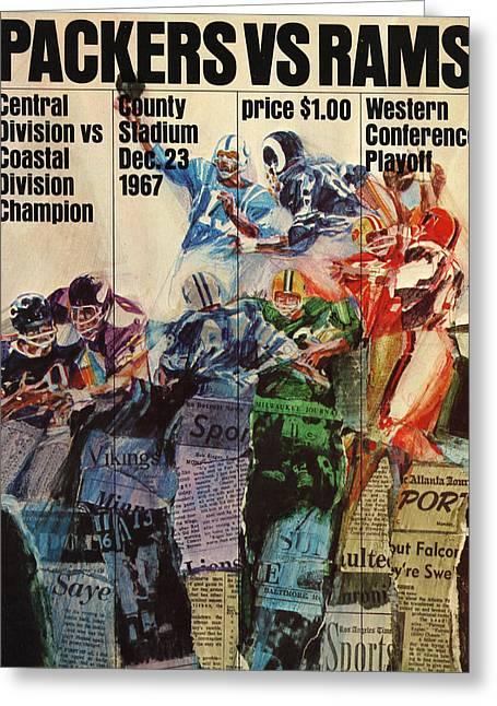 Programs Greeting Cards - Green Bay Packers Vintage Program 4 Greeting Card by Joe Hamilton