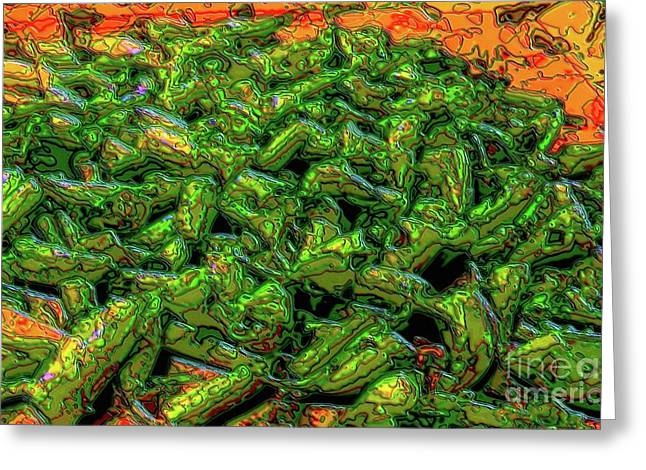 Green Bean Montage Greeting Card by Ron Bissett