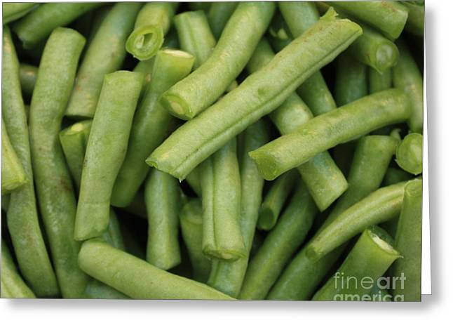 Green Beans Greeting Cards - Green Beans Close-Up Greeting Card by Carol Groenen