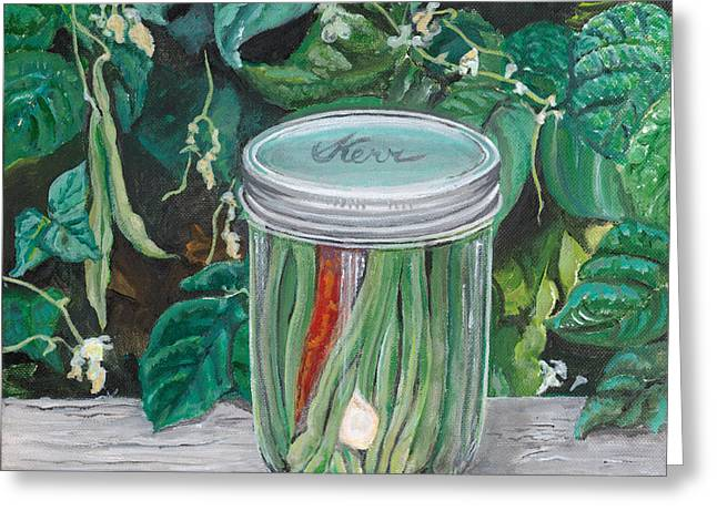 Green Beans Greeting Cards - Green Beans Greeting Card by Holly Bartlett Brannan