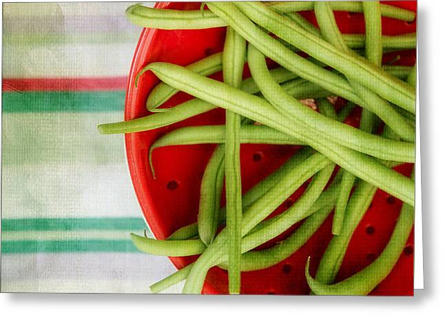Green Bean Greeting Cards - Green Beans Red Collander Greeting Card by Rebecca Cozart