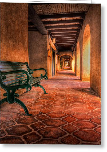 Ceramic Pyrography Greeting Cards - Green Bench and Arches Greeting Card by Rick Strobaugh
