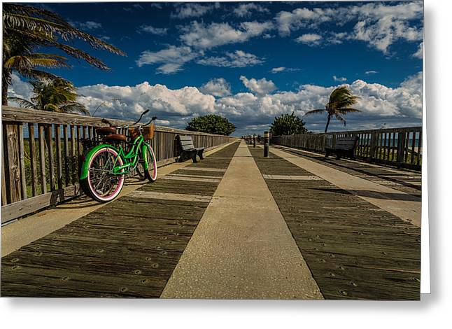 Walkway Pyrography Greeting Cards - Green Bike at the Beach Greeting Card by Rick Strobaugh