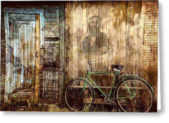 Wooden Building Mixed Media Greeting Cards - Green Bike Crooked Door Greeting Card by Bellesouth Studio