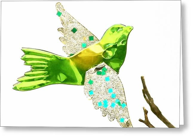 Christmas Blocks Greeting Cards - Green Bird Ornament Greeting Card by Art Block Collections