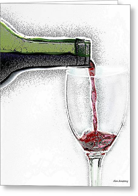 Pouring Wine Digital Art Greeting Cards - Green Bottle Red Wine Greeting Card by Alan Armstrong