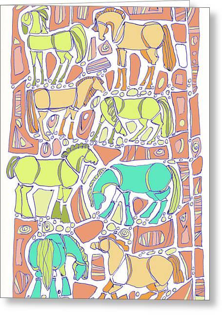 Ink Drawing Greeting Cards - Green Broke Greeting Card by Linda Kay Thomas